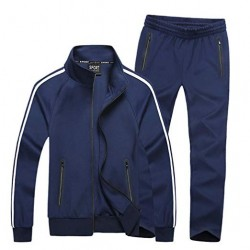 Men's Athletic Full-Zip Stripe Jogging Tracksuit